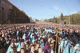 Millions of Orthodox Christians in procession during a feast of the Virgin Mary in Russia.